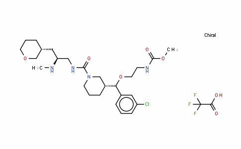N-[2-[(R)-(3-氯苯基)[(3R)-1-[[[(2S)-2-(甲基氨基)-3-[(3R)-四氢-2H-吡喃-3-基]丙基]氨基]羰基]-3-哌啶基]甲氧基]乙基]氨基甲酸甲酯 2,2,2-三氟乙酸盐