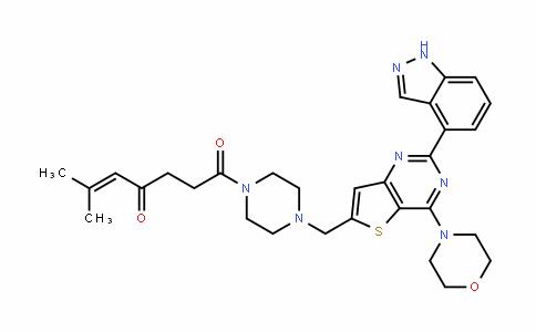 1-[4-[[2-(1H-吲唑-4-基)-4-(4-吗啉基)噻吩并[3,2-D]嘧啶-6-基]甲基]-1-哌嗪基]-6-甲基-5-庚烯-1,4-二酮