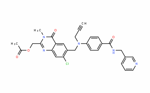 (7-chloro-3-methyl-4-oxo-6-((prop-2-ynyl(4-(pyriDin-3-ylmethylcarbamoyl)phenyl)amino)methyl)-3,4-DihyDroquinazolin-2-yl)methyl acetate