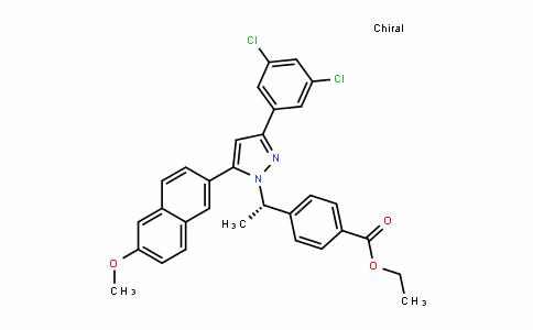 (S)-ethyl 4-(1-(3-(3,5-Dichlorophenyl)-5-(6-methoxynaphthalen-2-yl)-1H-pyrazol-1-yl)ethyl)benzoate