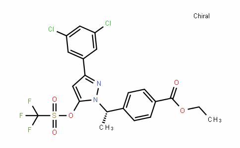 (S)-ethyl 4-(1-(3-(3,5-Dichlorophenyl)-5-(trifluoromethylsulfonyloxy)-1H-pyrazol-1-yl)ethyl)benzoate