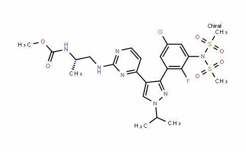 (S)-methyl (1-((4-(3-(5-chloro-2-fluoro-3-(N-(methylsulfonyl)methylsulfonamiDo)phenyl)-1-isopropyl-1H-pyrazol-4-yl)pyrimiDin-2-yl)amino)propan-2-yl)carbamate
