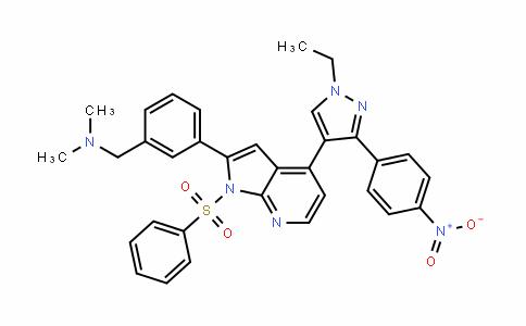 1-(3-(4-(1-ethyl-3-(4-nitrophenyl)-1H-pyrazol-4-yl)-1-(phenylsulfonyl)-1H-pyrrolo[2,3-b]pyriDin-2-yl)phenyl)-N,N-Dimethylmethanamine
