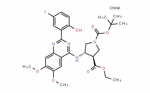 1,3-PyrroliDineDicarboxylic acid, 4-[[2-(5-fluoro-2-hyDroxyphenyl)-6,7-Dimethoxy-4-quinazolinyl]amino]-, 1-(1,1-Dimethylethyl) 3-ethyl ester, (3R,4S)-rel-