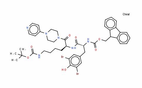 13-Oxa-2,5,11-triazapentaDecanoic acid, 3-[(3,5-Dibromo-4-hyDroxyphenyl)methyl]-14,14-Dimethyl-4,12-Dioxo-6-[[4-(4-pyriDinyl)-1-piperazinyl]carbonyl]-, 9H-fluoren-9-ylmethyl ester, [R-(R*,S*)]- (9CI)