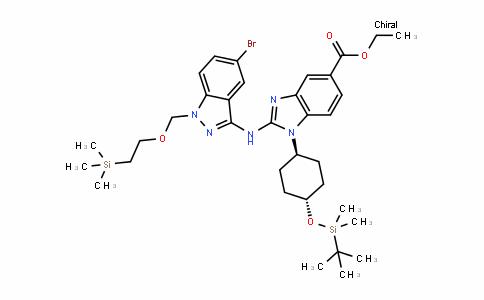 1H-BenzimiDazole-5-carboxylic acid, 2-[[5-bromo-1-[[2-(trimethylsilyl)ethoxy]methyl]-1H-inDazol-3-yl]amino]-1-[trans-4-[[(1,1-Dimethylethyl)Dimethylsilyl]oxy]cyclohexyl]-, ethyl ester