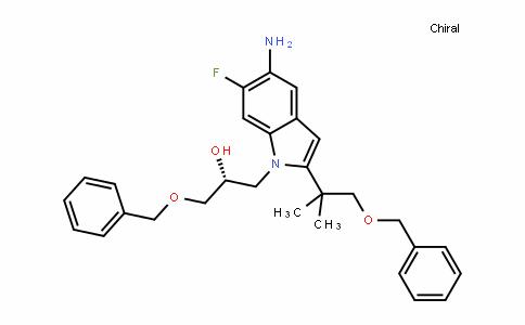 1H-InDole-1-ethanol, 5-amino-2-[1,1-Dimethyl-2-(phenylmethoxy)ethyl]-6-fluoro-α-[(phenylmethoxy)methyl]-, (αR)-