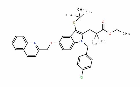 1H-InDole-2-propanoic acid, 1-[(4-chlorophenyl)methyl]-3-[(1,1-Dimethylethyl)thio]-α,α-Dimethyl-5-(2-quinolinylmethoxy)-, ethyl ester