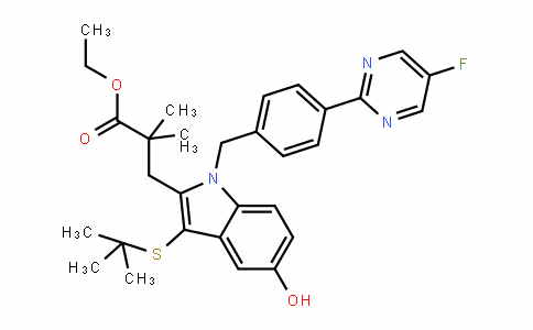 1H-InDole-2-propanoic acid, 3-[(1,1-Dimethylethyl)thio]-1-[[4-(5-fluoro-2-pyrimiDinyl)phenyl]methyl]-5-hyDroxy-α,α-Dimethyl-, ethyl ester