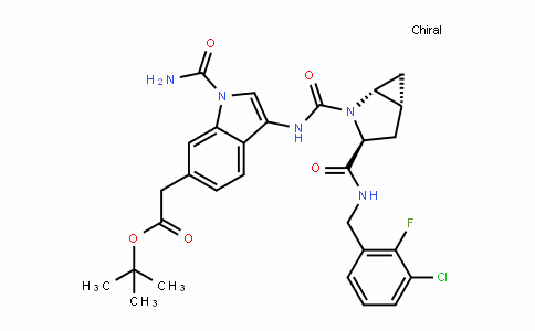 1H-InDole-6-acetic acid, 1-(aminocarbonyl)-3-[[[(1R,3S,5R)-3-[[[(3-chloro-2-fluorophenyl)methyl]amino]carbonyl]-2-azabicyclo[3.1.0]hex-2-yl]carbonyl]amino]-, 1,1-Dimethylethyl ester