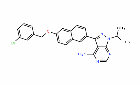 1H-Pyrazolo[3,4-D]pyrimiDin-4-amine, 3-[6-[(3-chlorophenyl)methoxy]-2-naphthalenyl]-1-(1-methylethyl)-