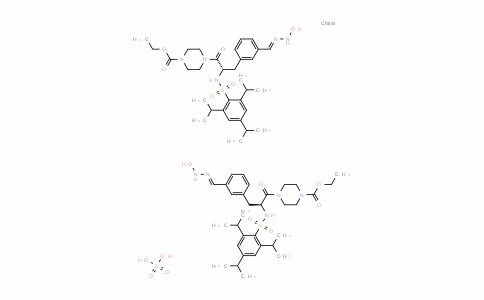 1-Piperazinecarboxylic acid, 4-[(2S)-3-[3-[(hyDroxyamino)iminomethyl]phenyl]-1-oxo-2-[[[2,4,6-tris(1-methylethyl)phenyl]sulfonyl]amino]propyl]-, ethyl ester, sulfate (2:1)