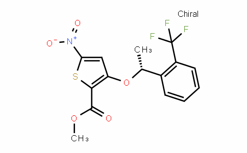 2-Thiophenecarboxylic acid, 5-nitro-3-[(1R)-1-[2-(trifluoromethyl)phenyl]ethoxy]-, methyl ester