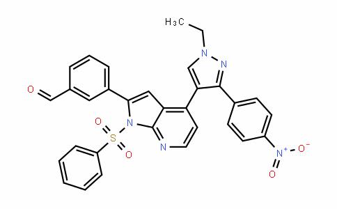 3-[4-[1-乙基-3-(4-硝基苯基)-1H-吡唑-4-基]-1-(苯磺酰基)-1H-吡咯并[2,3-B]吡啶-2-基]苯甲醛