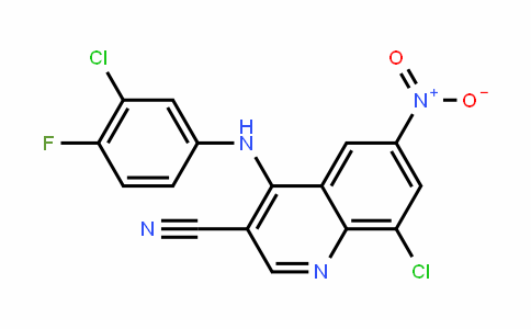 3-Quinolinecarbonitrile, 8-chloro-4-[(3-chloro-4-fluorophenyl)amino]-6-nitro-
