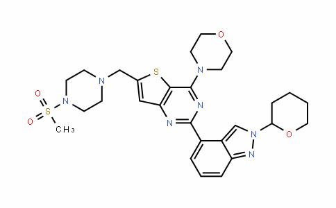 4-(6-((4-(methylsulfonyl)piperazin-1-yl)methyl)-2-(2-(tetrahyDro-2H-pyran-2-yl)-2H-inDazol-4-yl)thieno[3,2-D]pyrimiDin-4-yl)morpholine