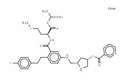 N-[2-[2-(4-氟苯基)乙基]-5-[[[(2S,4S)-4-[(3-吡啶羰基)硫代]-2-吡咯啉]甲基]氨基]苄基]-L-蛋氨酸 1-甲基乙酯