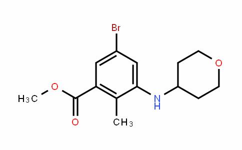 Benzoic acid, 5-bromo-2-methyl-3-[(tetrahyDro-2H-pyran-4-yl)amino]-, methyl ester