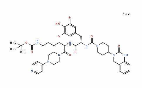 CarbaMic acid, [(5S)-5-[[(2R)-3-(3,5-DibroMo-4-hyDroxyphenyl)-2-[[[4-(1,4-DihyDro-2-oxo-3(2H)-quinazolinyl)-1-piperiDinyl]carbonyl]aMino]-1-oxopropyl]aMino]-6-oxo-6-[4-(4-pyriDinyl)-1-piperazinyl]hexyl]-, 1,1-DiMethylethyl ester (9CI)