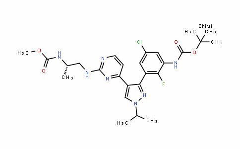 CarbaMic acid, N-[(1S)-2-[[4-[3-[5-chloro-3-[[(1,1-DiMethylethoxy)carbonyl]aMino]-2-fluorophenyl]-1-(1-Methylethyl)-1H-pyrazol-4-yl]-2-pyriMiDinyl]aMino]-1-Methylethyl]-, Methyl ester