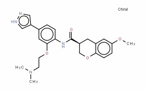 (3S)-N-[2-[2-(二甲基氨基)乙氧基]-4-(1H-吡唑-4-基)苯基]-3,4-二氢-6-甲氧基-2H-1-苯并吡喃-3-甲酰胺