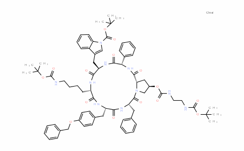 Cyclo[(2S)-2-phenylglycyl-1-[(1,1-DiMethylethoxy)carbonyl]-D-tryptophyl-N6-[(1,1-DiMethylethoxy)carbonyl]-L-lysyl-O-(phenylMethyl)-L-tyrosyl-L-phenylalanyl-(4R)-4-[[[[2-[[(1,1-DiMethylethoxy)carbonyl]aMino]ethyl]aMino]carbonyl]oxy]-L-prolyl]