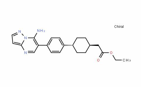 Cyclohexaneacetic acid, 4-[4-(7-aMinopyrazolo[1,5-a]pyriMiDin-6-yl)phenyl]-, ethyl ester, trans-