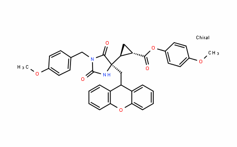 Cyclopropanecarboxylic acid, 2-[(4R)-1-[(4-methoxyphenyl)methyl]-2,5-Dioxo-4-(9H-xanthen-9-ylmethyl)-4-imiDazoliDinyl]-, 4-methoxyphenyl ester, (1S,2S)-