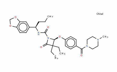 (2S)-N-[(1R)-1-(1,3-苯并二氧戊环-5-基)丁基]-3,3-二乙基-2-[4-[(4-甲基-1-哌嗪基)羰基]苯氧基]-4-氧代-1-氮杂环丁烷甲酰胺
