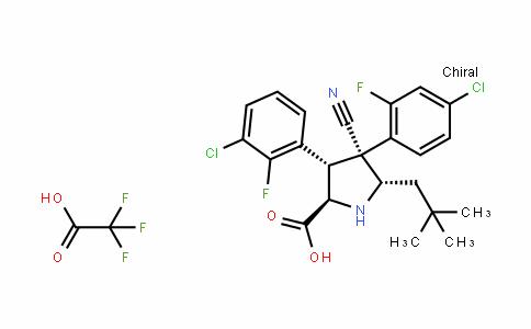 D-Proline, 3-(3-chloro-2-fluorophenyl)-4-(4-chloro-2-fluorophenyl)-4-cyano-5-(2,2-diMethylpropyl)-, (3S,4R,5S)-rel-, 2,2,2-trifluoroacetate (1:1)