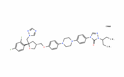 D-threo-Pentitol, 2,5-anhydro-1,3,4-trideoxy-2-C-(2,4-difluorophenyl)-4-[[4-[4-[4-[1-(1-ethylpropyl)-1,5-dihydro-5-oxo-4H-1,2,4-triazol-4-yl]phenyl]-1-piperazinyl]phenoxy]Methyl]-1-(1H-1,2,4-triazol-1-yl)-