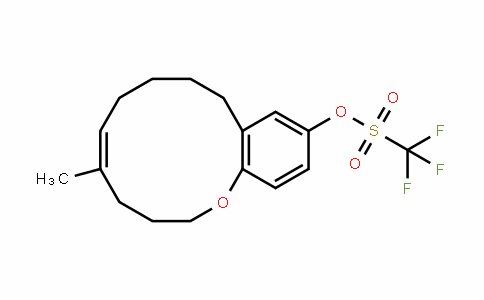 Methanesulfonic acid, 1,1,1-trifluoro-, (5E)-3,4,7,8,9,10-hexahydro-5-Methyl-2H-1-benzoxacyclododecin-12-yl ester