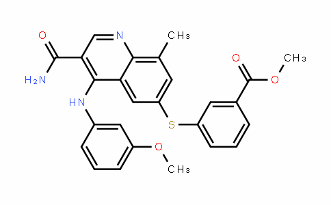 methyl 3-(3-carbamoyl-4-(3-methoxyphenylamino)-8-methylquinolin-6-ylthio)benzoate