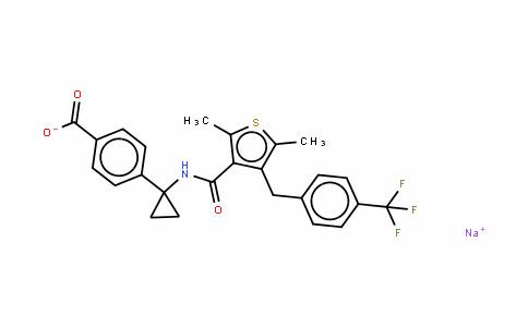 4-[1-[[[2,5-二甲基-4-[[4-(三氟甲基)苯基]甲基]-3-噻吩基]羰基]氨基]环丙基]苯甲酸钠盐