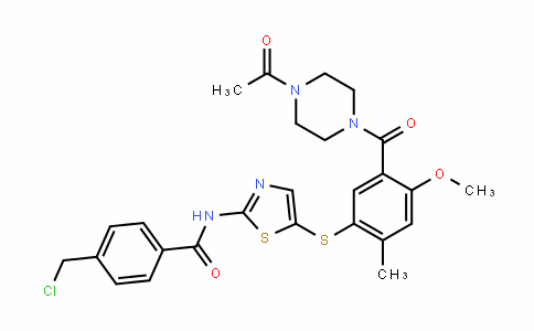 N-(5-(5-(4-acetylpiperazine-1-carbonyl)-4-methoxy-2-methylphenylthio)thiazol-2-yl)-4-(chloromethyl)benzamide