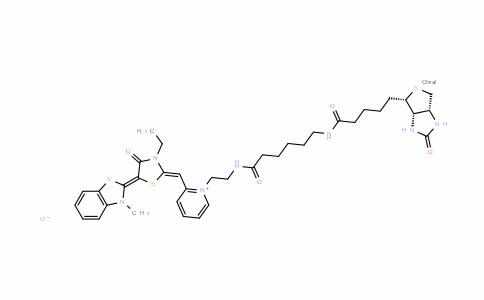 PyridiniuM, 2-[[3-ethyl-5-(3-Methyl-2(3H)-benzothiazolylidene)-4-oxo-2-thiazolidinylidene]Methyl]-1-[2-[[6-[[5-[(3aS,4S,6aR)-hexahydro-2-oxo-1H-thieno[3,4-d]iMidazol-4-yl]-1-oxopentyl]aMino]-1-oxohexyl]aMino]ethyl]-, chloride (1:1)