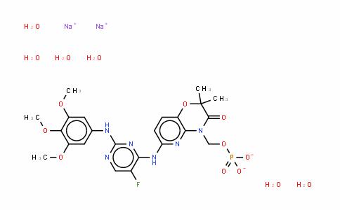 6-[[5-氟-2-[(3,4,5-三甲氧基苯基)氨基]-4-嘧啶基]氨基]-2,2-二甲基-4-[(磷酰氧)甲基]-2H-吡啶并[3,2-b]-1,4-恶嗪-3(4H)-酮二钠盐六水合物
