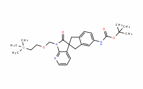 Tert-butyl 2'-oxo-1'-((2-(trimethylsilyl)ethoxy)methyl)-1,1',2',3-tetrahydrospiro[indene-2,3'-pyrrolo[2,3-b]pyridine]-5-ylcarbamate