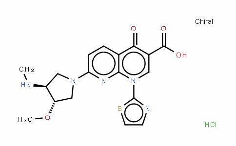 (3S-反式)-1,4-二氢-7-[3-甲氧基-4-(甲基氨基)-1-吡咯烷基]-4-氧代-1-(2-噻唑基)-1,8-萘啶-3-羧酸单盐酸盐